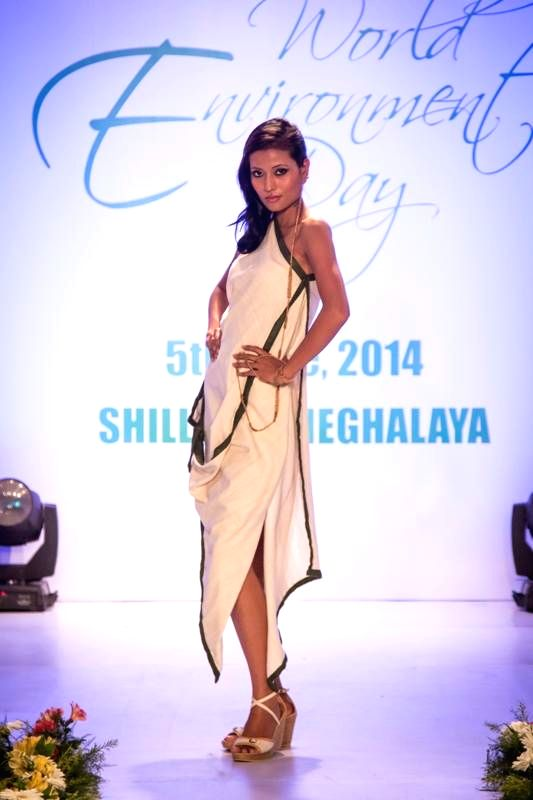 A model showcases creations of Meghalaya based designer Daniel Syiem during a fashion show organised on World Environment Day in Shillong.