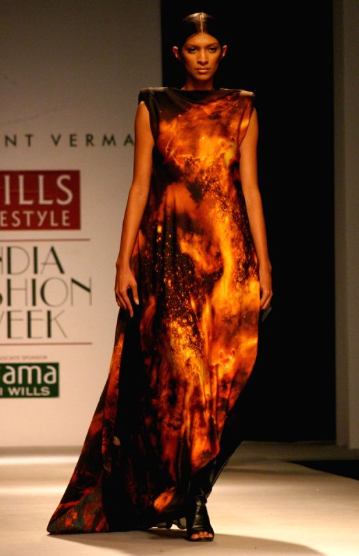 A Model Showcasing A Designer Prashant Verma 39 S Creation At The Wills Lifestyle India Fashion