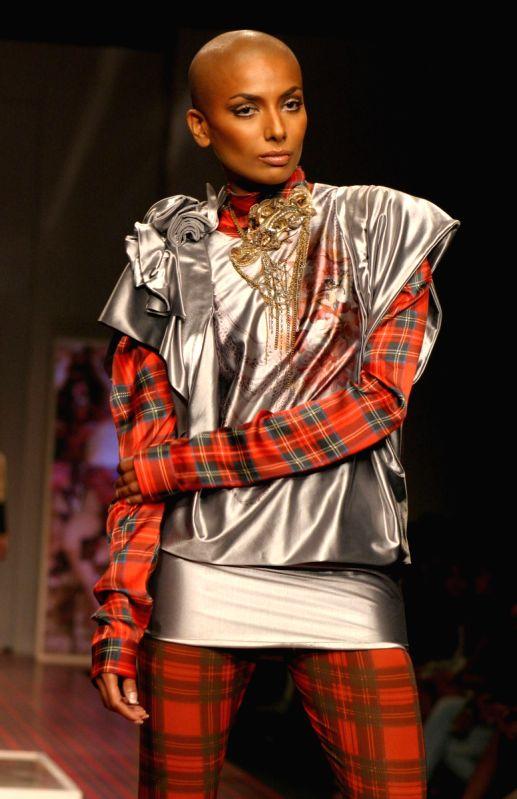 A model showcasing designer Gaurav Gupta's creations at the Wills Lifestyle India Fashion Week 2010, in New Delhi on Thrusday.