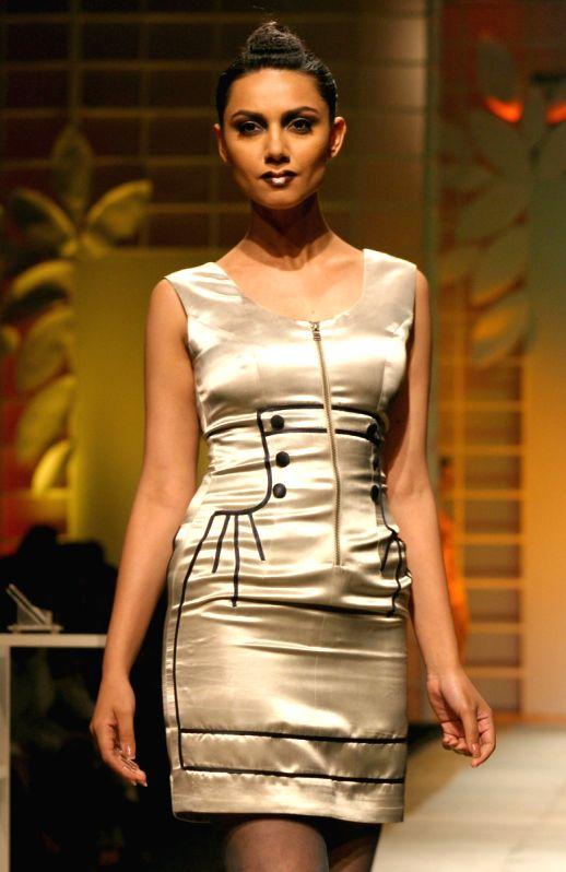 A model showcasing designers Ankita and Anjana Bhargav creation at the Wills Lifestyle India Fashion Week 2010, in New Delhi on Thrusday.