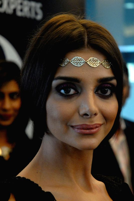 A model showcasing new hairstyle during the launch of Lakme's Absolute Salon in Bengaluru on Monday 4th of March 2013. .