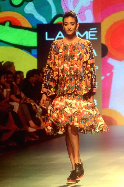 A Model walks the ramp during the Lakme Fashion Week Summer/Resort 2018 in Mumbai on Jan 31, 2018.