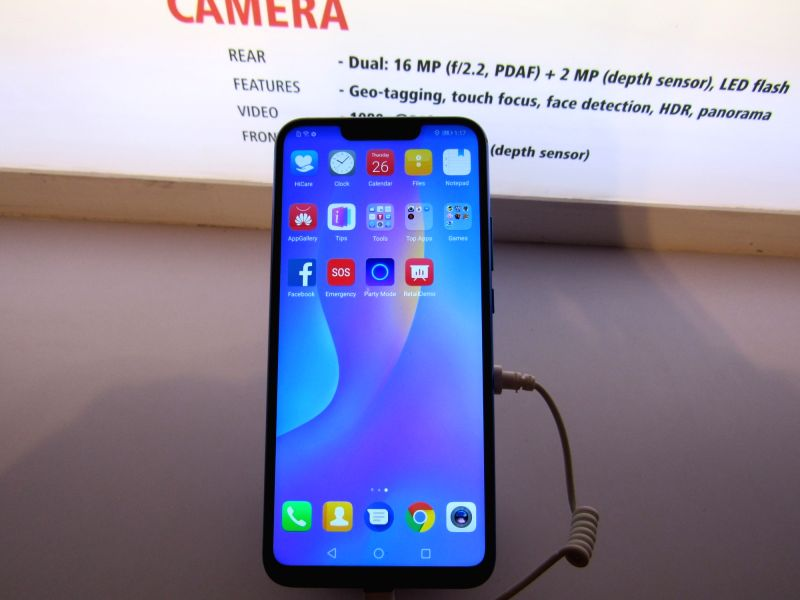 A newly launched Nova smartphone on display at a launch programme, in New Delhi on July 26, 2018. Huawei Consumer Business Group (CBG) on Thursday brought to India two smartphones in its ...