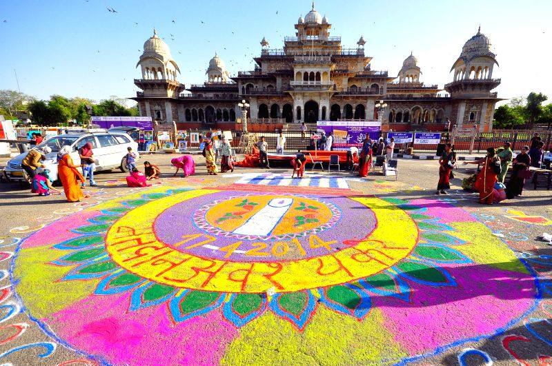 A painting based on Voters' Awareness at Albert hall in Jaipur on April 10, 2014.