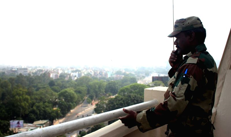 A para military personnel keep vigil as security is on high alert due to 3rd India Africa Forum Summit in New Delhi on Oct 28, 2015.
