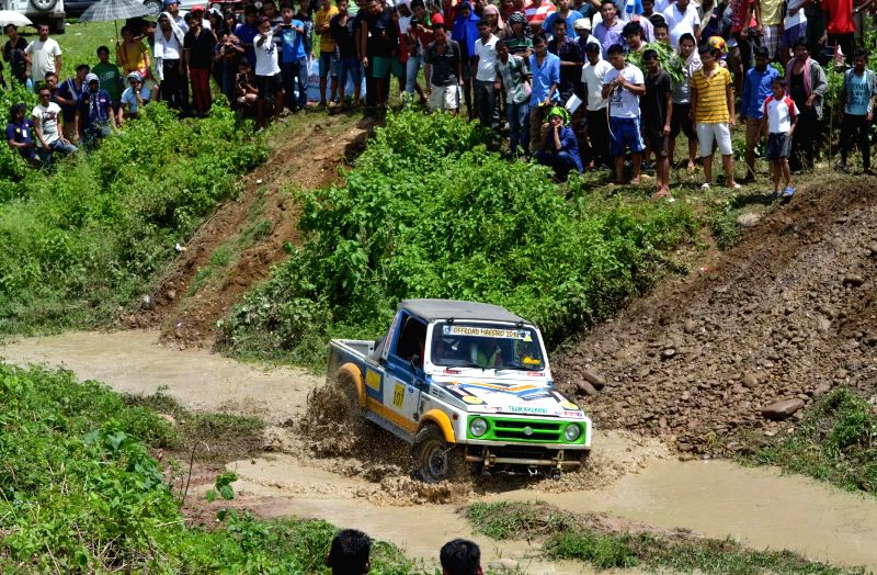 A participant during Off-road Maestro 2014 held in Dimapur of Nagaland on July 19, 2014.