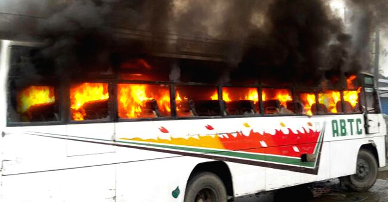 A passenger bus set on fire by the local residence after it collided with a school going auto near Pathankot-Amritsar highway. Following the accident the driver of the auto was killed and nine school