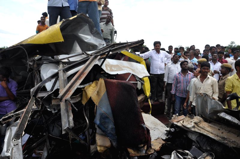 A passenger train rammed into a school bus at an unmanned railway crossing in Medak district, Telangana`s  on July 24, 2014. Killing at least 20 children and injuring 15 with fears the death toll ...