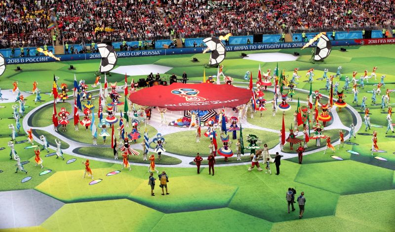A performance is under way at Luzhniki Stadium in Moscow on June 14, 2018, during the opening ceremony of the World Cup in Russia.