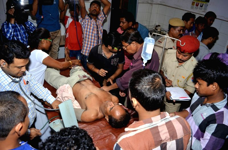 A person injured in Nagaon blast being treated at a hospital on on May 17, 2016.