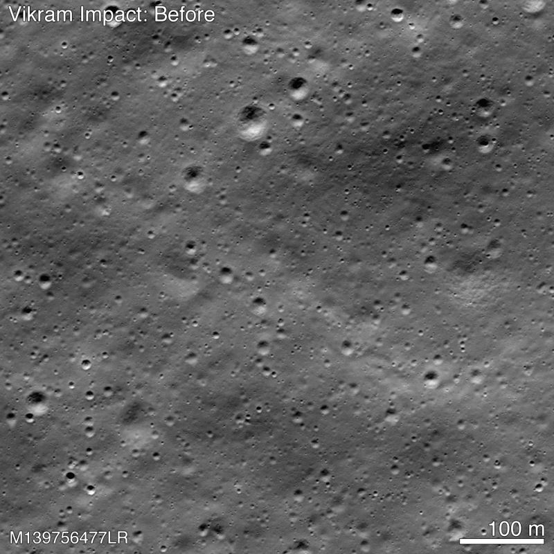 A picture released by NASA shows the point of impact of the Vikram moonlander when it crashed on the moon on September 6, 2019, and where its debris is. The places where the debris is found is marked in green and where the lunar soil was disturbed fr