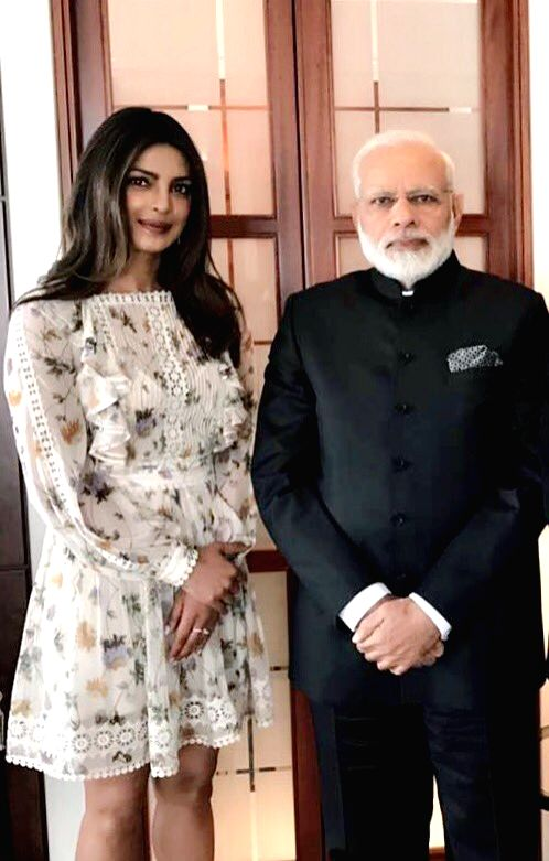 A picture shared by Priyanka Chopra on Twitter that shows her meeting Prime Minister Narendra Modi in Berlin, Germany on May 30, 2017. - Narendra Modi and Priyanka Chopra