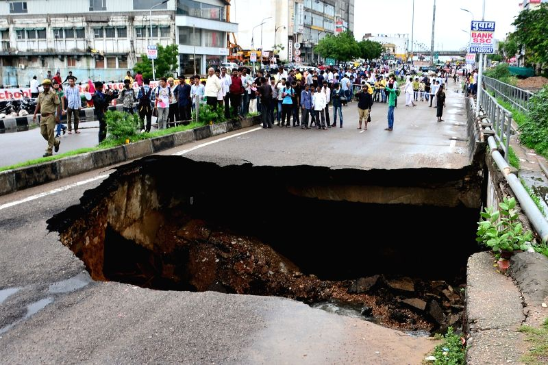A portion of a bridge on Gopalpura bypass road that caved in Jaipur, on Aug 2, 2016.