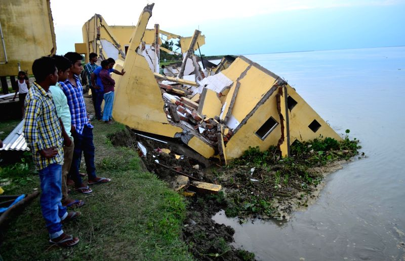 A portion of Panikhiti Primary Centre that was washed away by Brahmaputra river in Boko, Kamrup district of Assam on June 1, 2016.