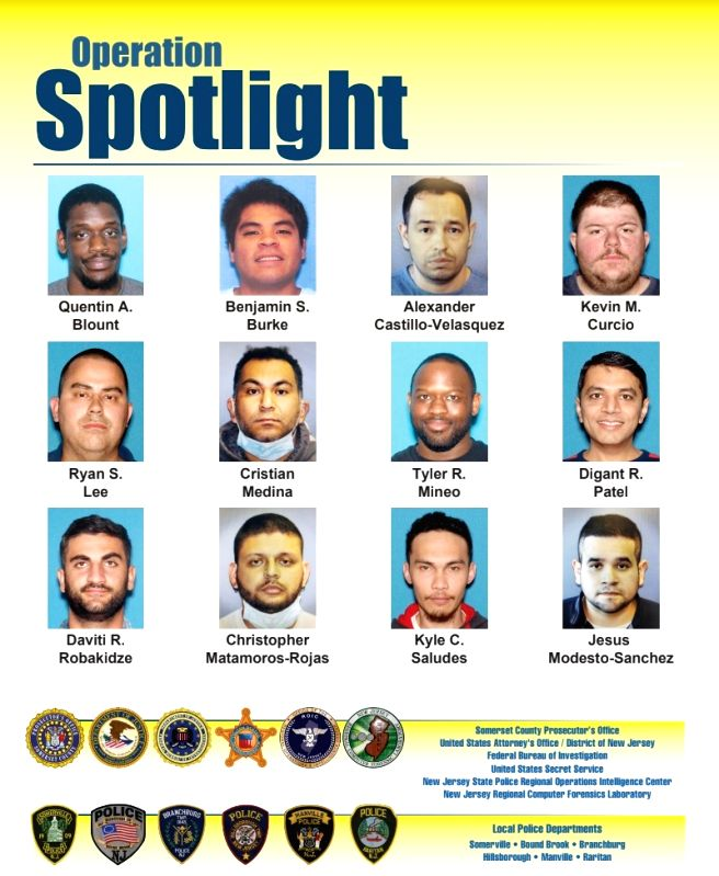A poster issued by the Somserset County Prosecutor's Office in New Jersey showing the men who were allegedly caught in a sting operation against child sex involvement.
