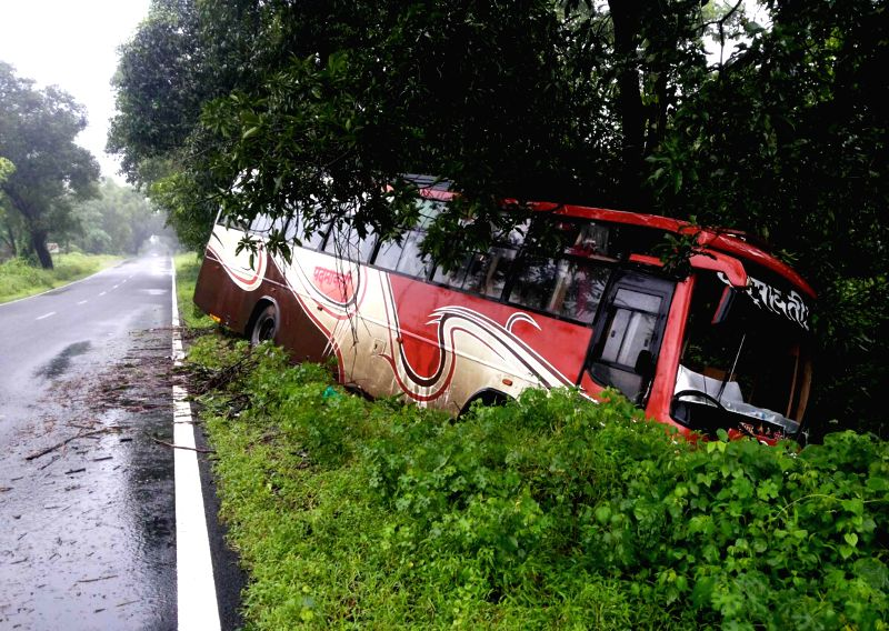 A private bus that met with an accident on Mumbai-Goa Expressway in Konkan on Aug 31, 2014.