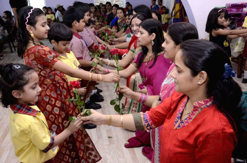 A programm organised by a school on the eve of Mother's Day in Patna on May 10, 2014.
