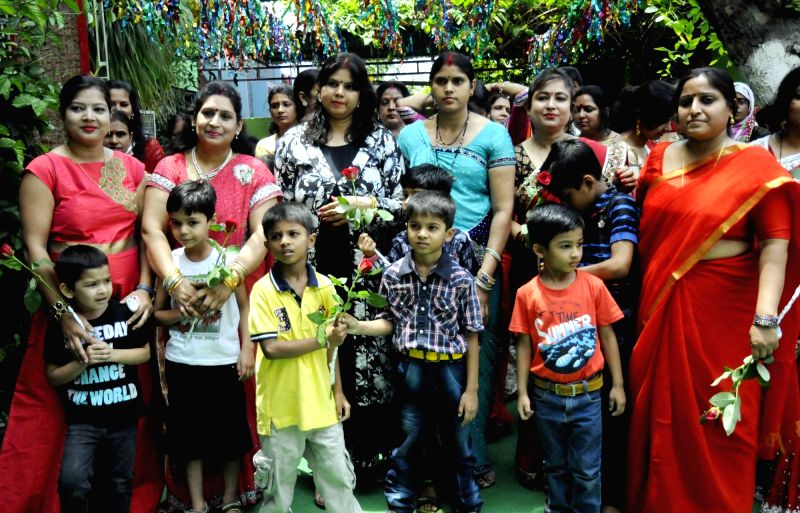 A programm organised by a school on the eve of Mother's Day in Patna on May 13, 2017.