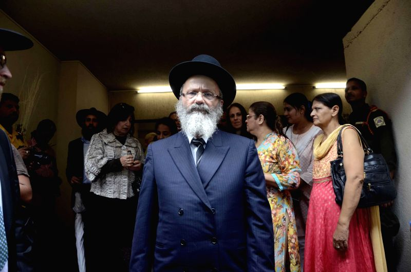 A Rabbi at the re-opening of Chabad center at Nariman House, in Mumbai on Aug 26, 2014. The 6-storey building is home of Chabad-Lubavitch