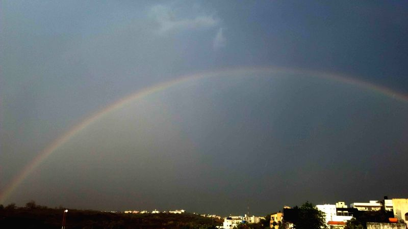 A rainbow appears in Hyderabad sky after rains on May 7, 2016.
