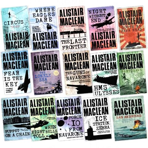 A range of recent editions of British novelist Alistair MacLean\'s most famous works