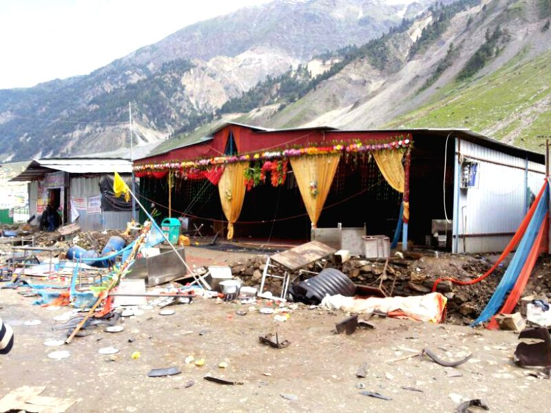 A ransacked camp at Baltal base camp of the Amarnath Yatra in Jammu and Kashmir after protesters clashed with security personnel on July 18, 2014.