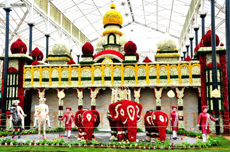 A replica of Mysore Palace made up of flower on display at Independence Day Flower Show at Glass House in Lal Bagh of Bangalore on Aug 8, 2014.