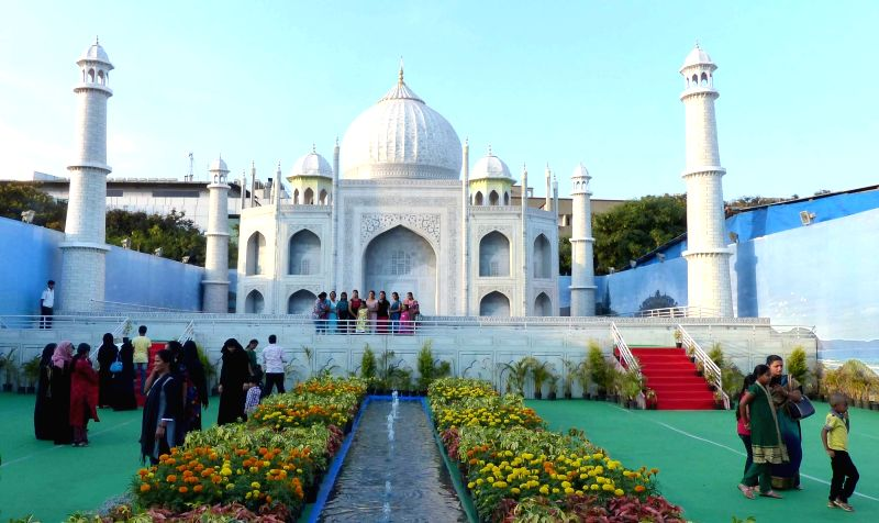 A replica of the Taj Mahal installed at Family Fair in Bengaluru on April 5, 2016.