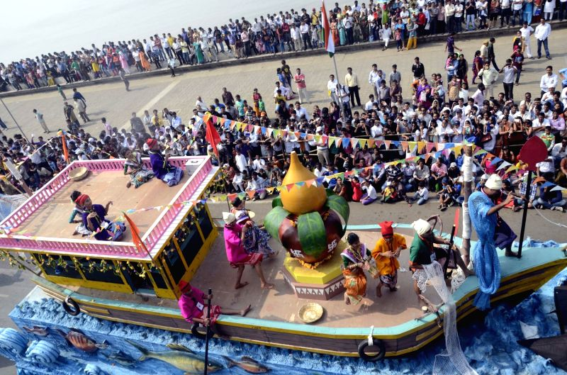 A Republic Day tableau during 65th Republic Day Parade at Marine Drive in Mumbai