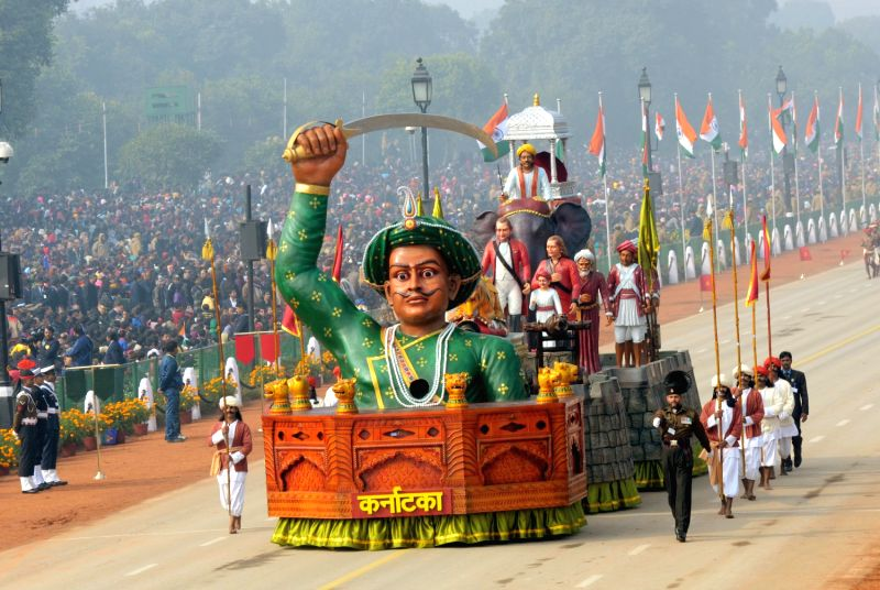 A Republic Day tableau from Karnataka during the Republic Day Parade at Rajpath in New Delhi