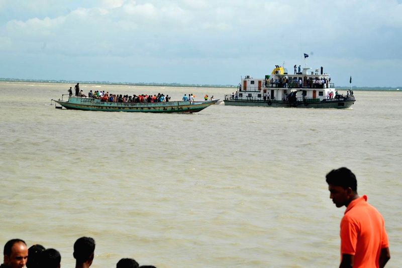 A rescue vessel which was pressed into service to rescue Pinak-6 - a launch that sank in Padma river near Mawa, Bangladesh on Aug 4, 2014. The launch had 200 passengers on-board.