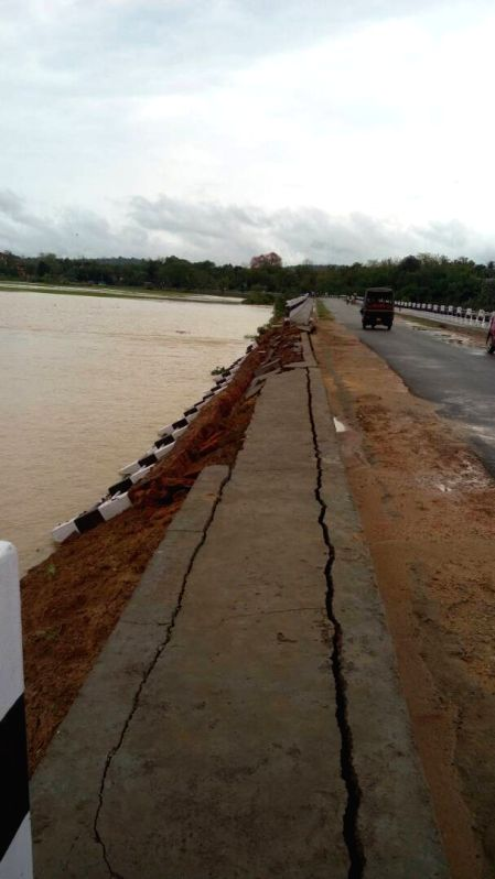 A road in  in  Meghalaya\'s South West Garo Hills district damaged by flash floods following heavyrainfalls