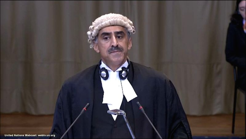 A screengrab of QC Khawar Qureshi as he pleads at the International Court of Justice from Pakistan's side during a public hearing in the case of Kulbhushan Jadhav, the alleged Indian spy sentenced to ...