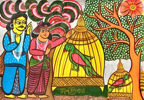 A scroll painting from a pictorial book on Tagore's poem