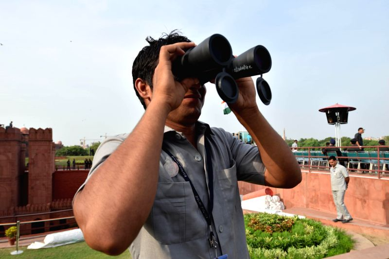 A security personnel at the dress rehearsal for the Independence Day celebrations at Red Fort in New Delhi on Aug. 13, 2014.