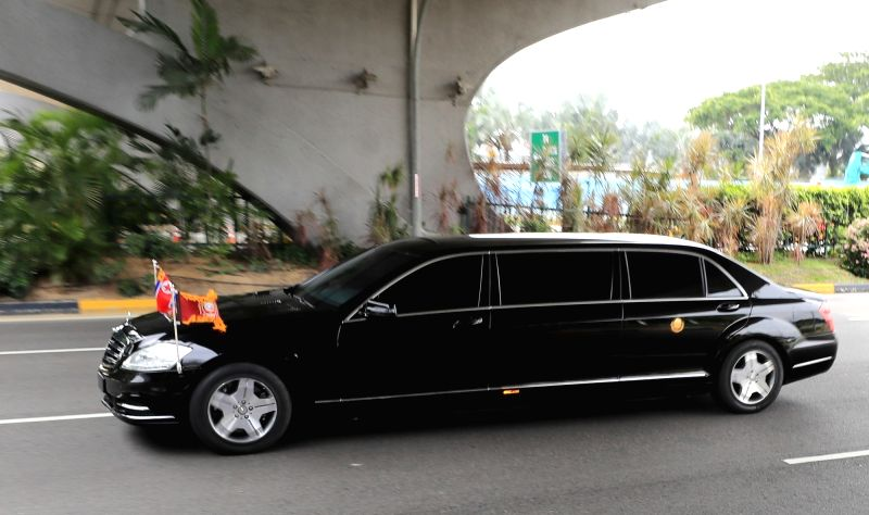 A sedan believed to be carrying North Korean leader Kim Jong-un leaves Changi Airport in Singapore on June 10, 2018. Kim is visiting the island country to hold a summit with U.S. President ...