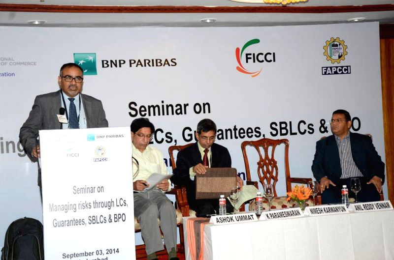 A seminar on 'Managing risks through LCs,Guarantees, SBLCs & BPO' organised by ICC India in association with BNP Paribas, FICCI and FAPCCI in Hyderabad on Sept 3, 2014.