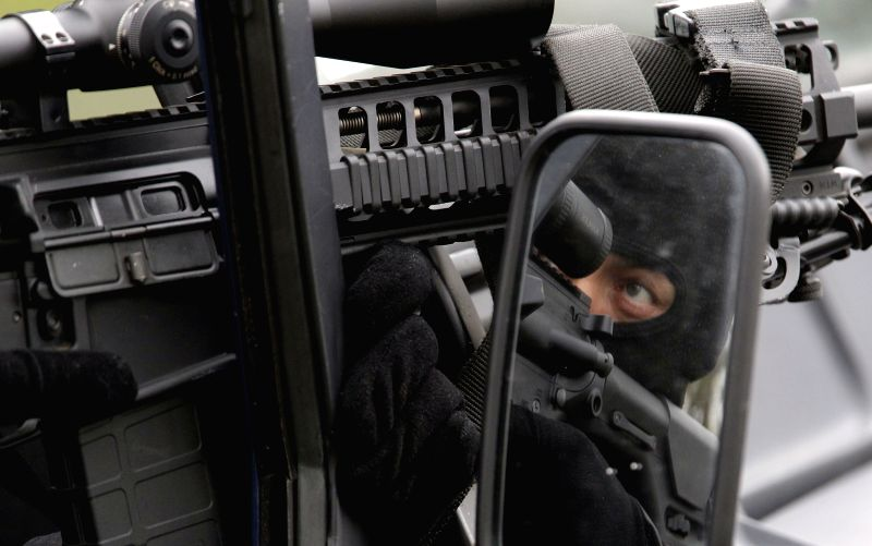 A Serbian Security Serviceman takes part in a joint exercise in Belgrade, Serbia, Nov. 21, 2015. Serbian Security Services on Saturday demonstrated their ...