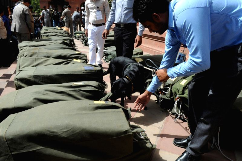 A sniffer dog inspects the documents pertaining to General Budget 2014-15 for explosives before they are taken inside the Parliament in New Delhi on July 10, 2014.
