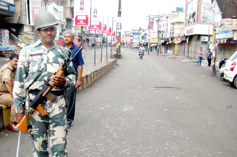 A soldier on duty on the roads of violence-hit Saharanpur where two communities clashed on Saturday (26th July,2014); on July 28, 2014.