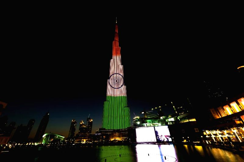 A spectacular LED illumination of the Indian National flag on BurjKhalifa on the eve of 68th Republic Day in Dubai, United Arab Emirates. (Photo Courtesy: Burj Khalifa/Twitter)