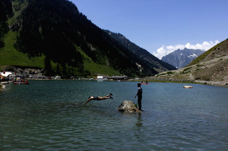 A spectacular view of a lake in Sonamarg - a hill station located in Ganderbal district of Jammu and Kashmir on June 29, 2014.