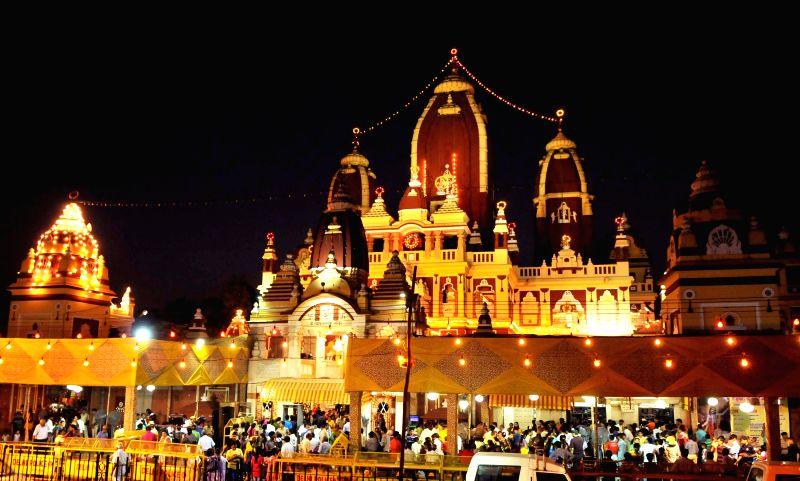 A spectacular view of Lakshmi Narayan Mandir popularly known as Birla Mandir on Janmashtami in New Delhi on Aug 18, 2014.