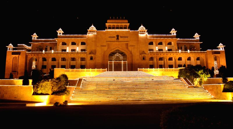 A spectacular view of Rajasthan Legislative Assembly on the eve of Independence  Day in Jaipur on Aug 14, 2014.