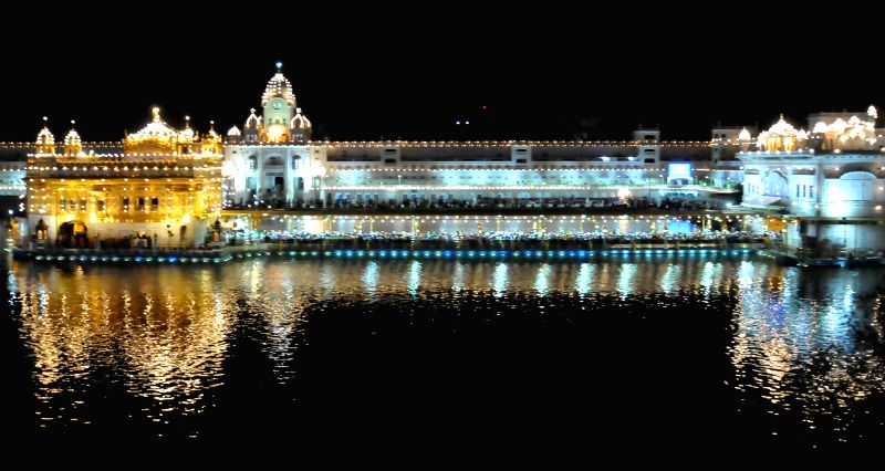 A splendorous view of the Golden Temple on the eve of Baisakhi in Amritsar on April 13, 2014.