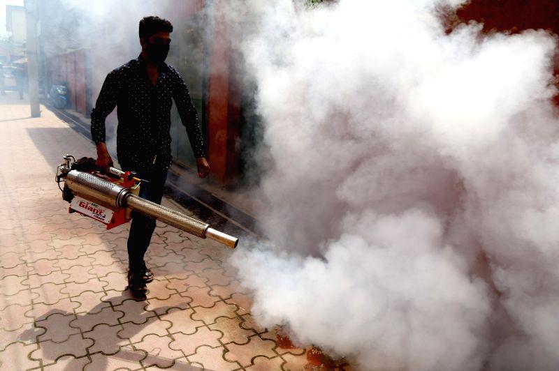 A Srinagar Municipal Corporation employee busy fogging in Srinagar on May 14, 2017.