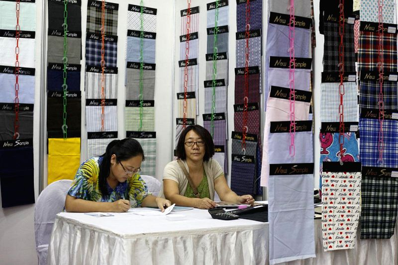 A stall set up at 15th Textech Bangladesh 2014 being held in Bangabandhu International Conference Centre of Dhaka, Bangladesh on Sept 3, 2014.