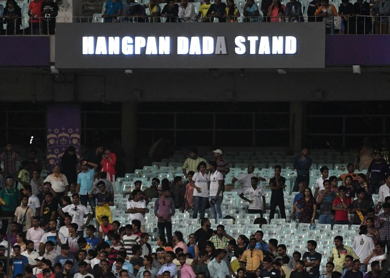 A stand named after martyr Hangpan Dada, who died last year while killing four suspected armed intruders in north Kashmir at Eden Garden in Kolkata on April 28, 2017.