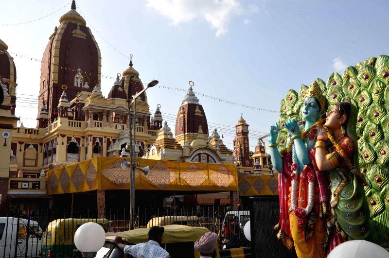 A statue of Radha and Krishna Lakshmi Narayan Mandir popularly known as Birla Mandir on Janmashtami in New Delhi on Aug 17, 2014.