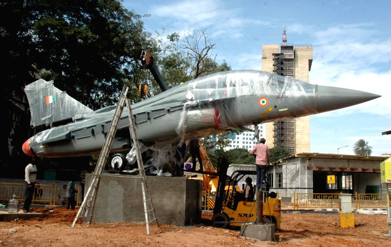 A Tejas - fighter get being installed at Minsk Square of Bengaluru on Dec 6, 2015.